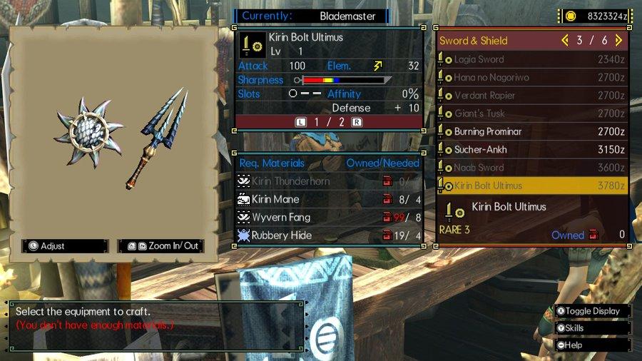 MHGU Sword and Shield Kirin Bolt Ultimus