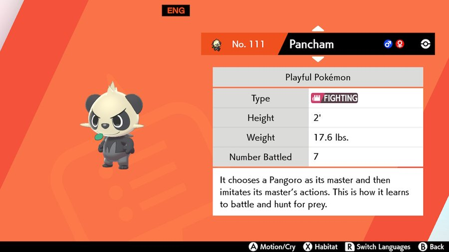 Pancham Pokemon Sword and Shield