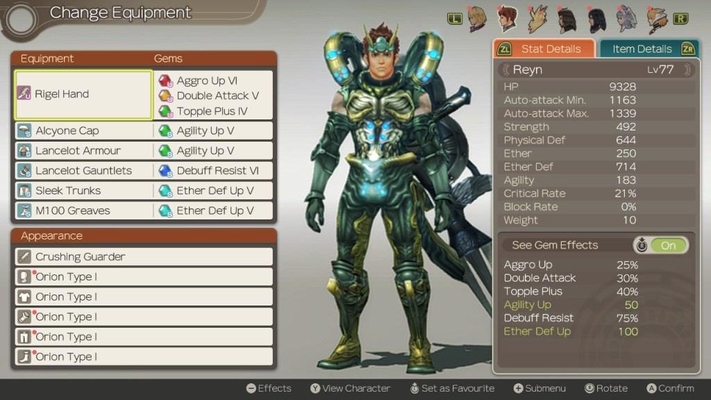 Reyn Build, Optimised Tank, Xenoblade Chronicles