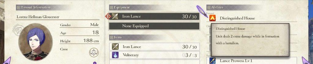 Lorenz Personal Skill, Fire Emblem: Three Houses