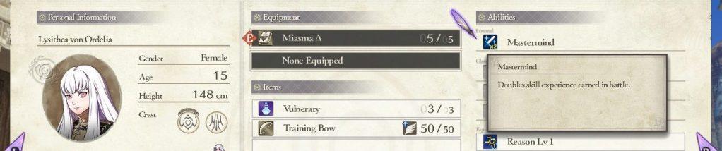 Lysithea Persona Skill, Fire Emblem: Three Houses