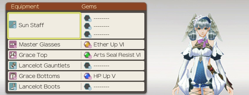 Equipment for Melia, Xenoblade Chronicles Definitive Edition