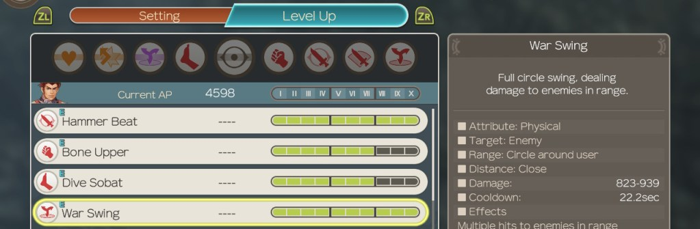 Levelling Arts, Xenoblade Chronicles Definitive Edition