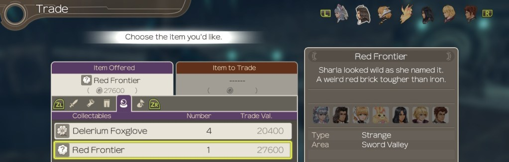 Trade Screen, Xenoblade Chronicles Definitive Edition